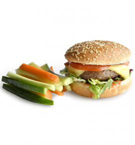 Homemade burger with beef and vegetable sticks